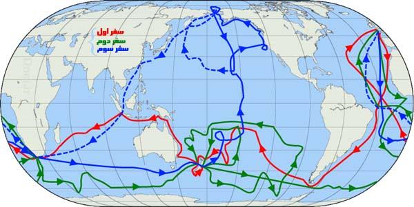 نقشه سفر های جیمز کوک