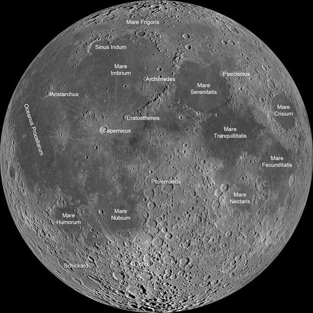 نقشه دریاهای ماه