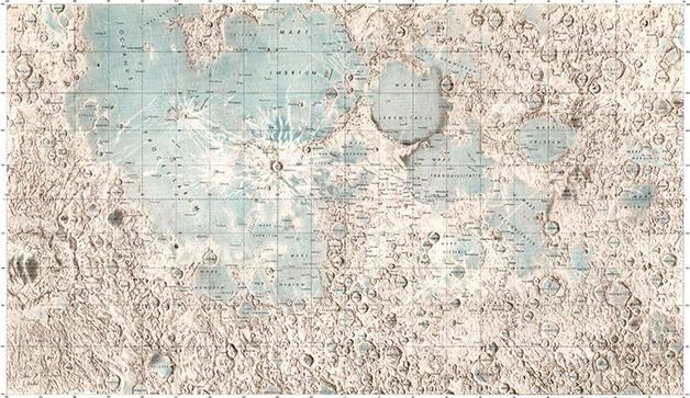 نقشه برجسته از سمت پیدای ماه