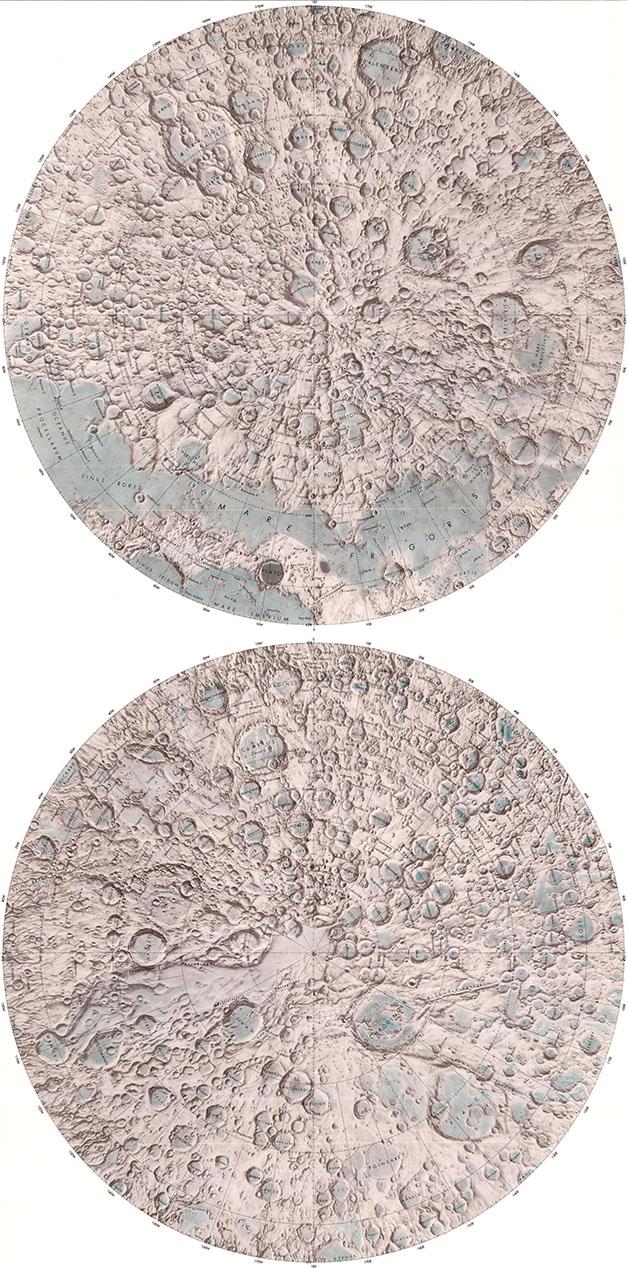 نقشه برجسته از قطبین ماه