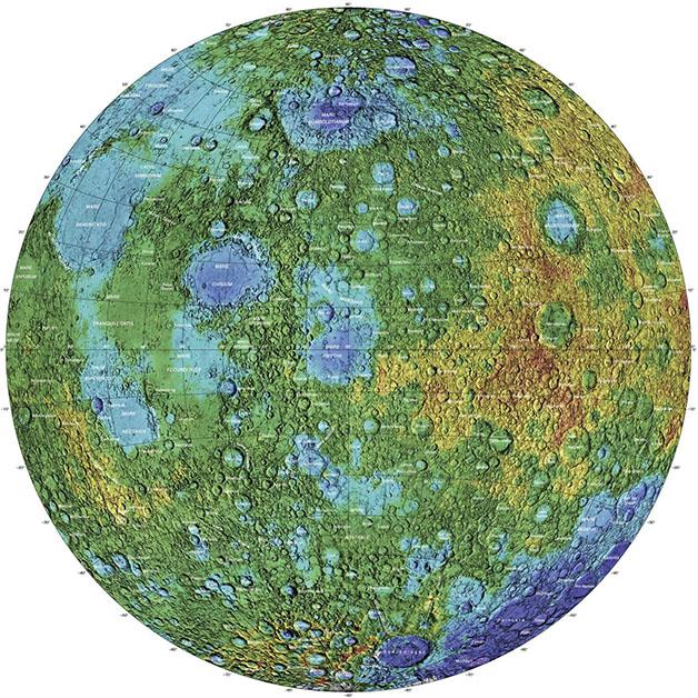 نقشه توپوگرافی محور شرقی ماه
