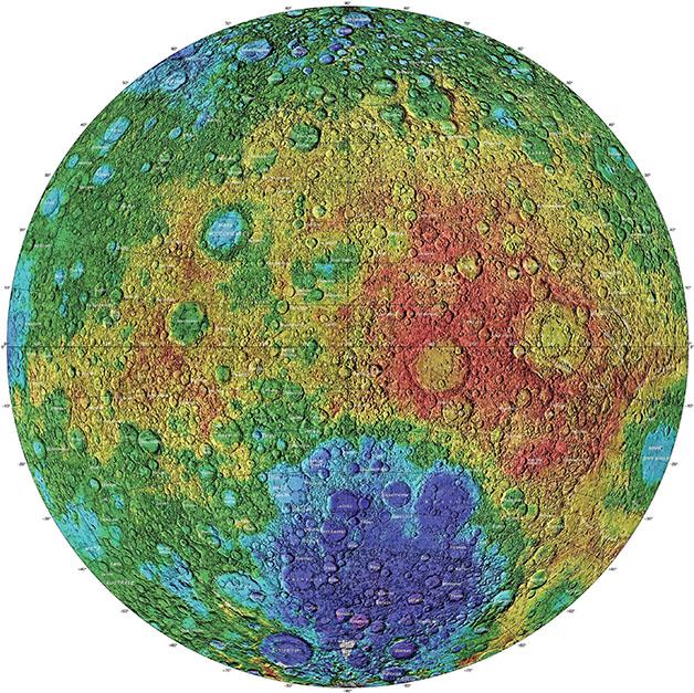 نقشه توپوگرافی از سمت پنهان ماه