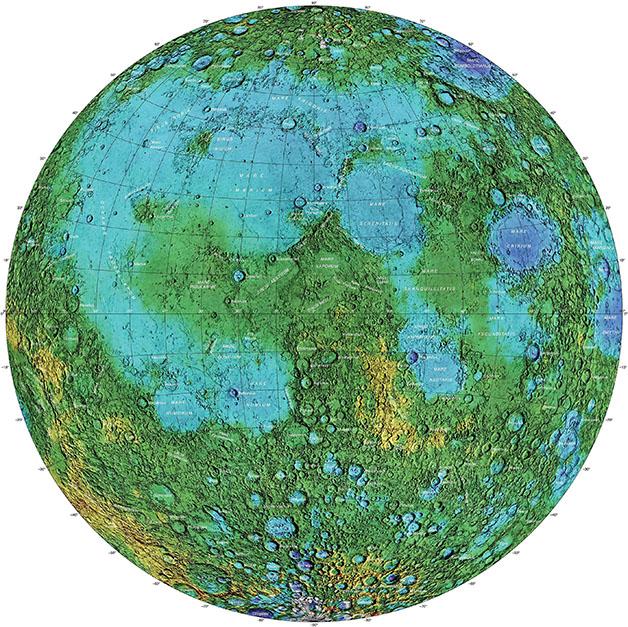 نقشه توپوگرافی از سمت پیدای ماه