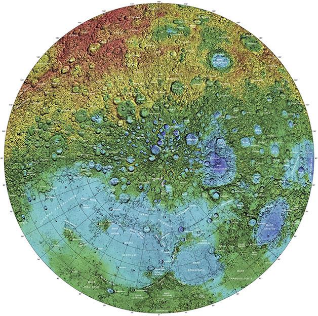 نقشه توپوگرافی قطب شمال ماه