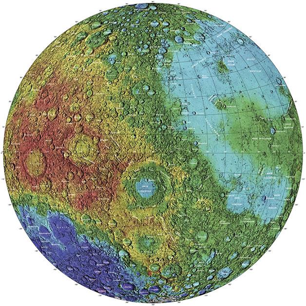 نقشه توپوگرافی محور غربی ماه